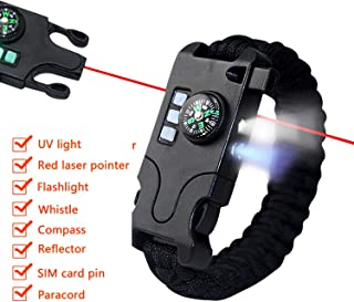 Allytech Outdoor Multi-functional Bracelet - Ultimate Survival Gear Emergency SOS Bracelet Kit with Compass/Red Laser Pointer/UV Light/Whistle/Card Pin/Reflector/Flashlight/Paracord (Black)
