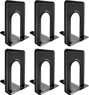 Bookends, Black Metal Nonskid Bookend Supports for Shelves Heavy Duty Books End, Office Book Stopper, 6 x 5 x 6 Inches, 6 ...