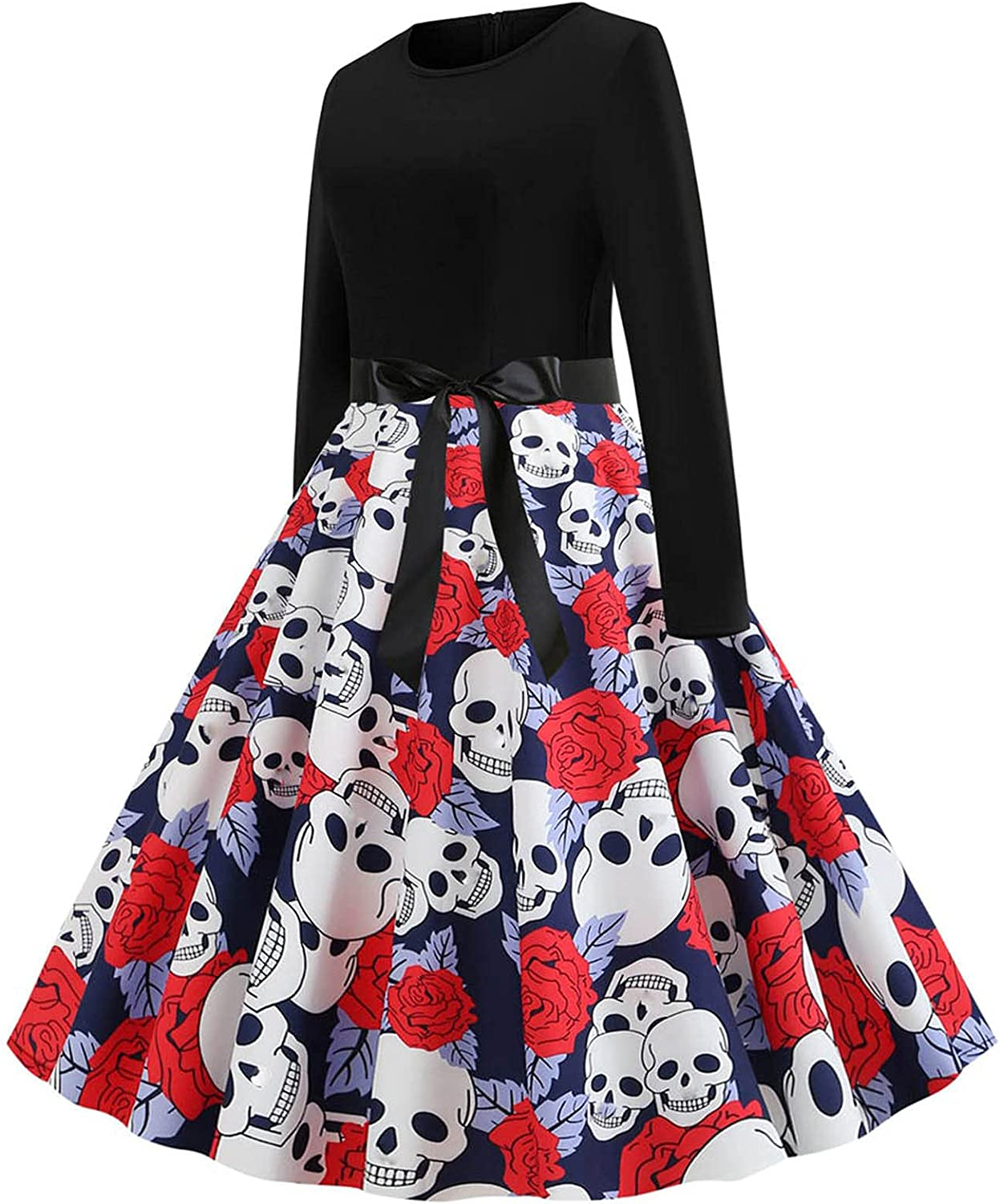 Kidyawn Womens Dresses Halloween Evening Party Prom Long Sleeve Skull Printed Patchwork Swing Midi Dress with Bow Belt