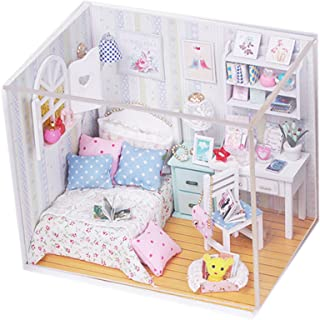 Ogrmar Wooden Dollhouse Miniatures DIY House Kit with Cover and Led Light-Leisure Reading Room