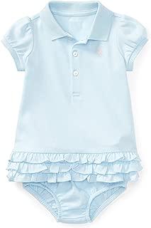 Ralph Lauren Baby Girls 2pc L/S Cotton Polo Dress & Bloomer Set