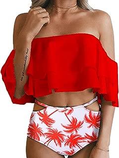 Tempt Me Women Two Piece Swimsuit High Waisted Off Shoulder Ruffled Bikini Set