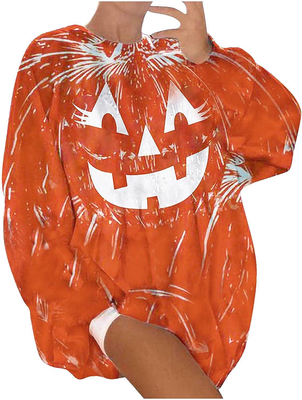 JPLZi Sweatshirts for Women Pumpkin Face Print Sweater Halloween Slouchy Witch Shirt Long Sleeve Pullover Tops Crewneck