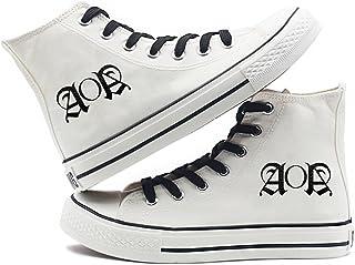 [Fanstown] KPOP 韓流 ロゴと特殊マーク ハイトップスニーカー スニーカー デッキシューズ 白靴