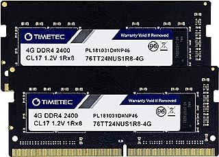 Timetec Hynix IC 8GB KIT (2x4GB) DDR4 2400MHz PC4-19200 Unbuffered Non-ECC 1.2V CL17 1Rx8 Single Rank 260 Pin SODIMM Lapto...