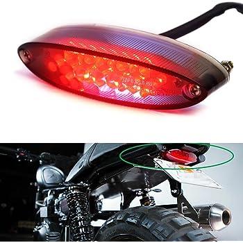 HUSUKU Motorbike White Bracket LED Rear Brake Tail Light License Plate Frame Light 12V Universal Fit for Suzuki Honda Yamaha