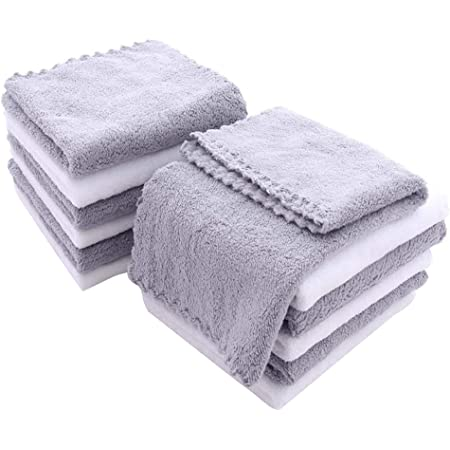 12 Pack Baby Washcloths - Extra Absorbent and Soft Wash Clothes for Newborns, Infants and Toddlers - Suitable for Baby Skin and New Born - Microfiber Coral Fleece 12x12 Inches