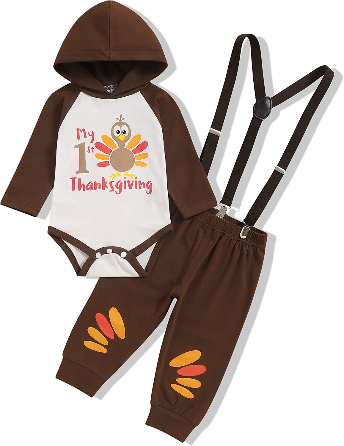 My First Thanksgiving Outfit Baby Boy Thanksgiving Clothes Funny Letter Top Overall Pant 2Pcs Outfit Set