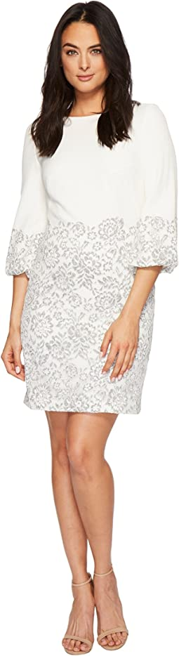 LAUREN Ralph Lauren Dorina French Stretch Crepe w/ Fleurissimo Scallop Lace Dress