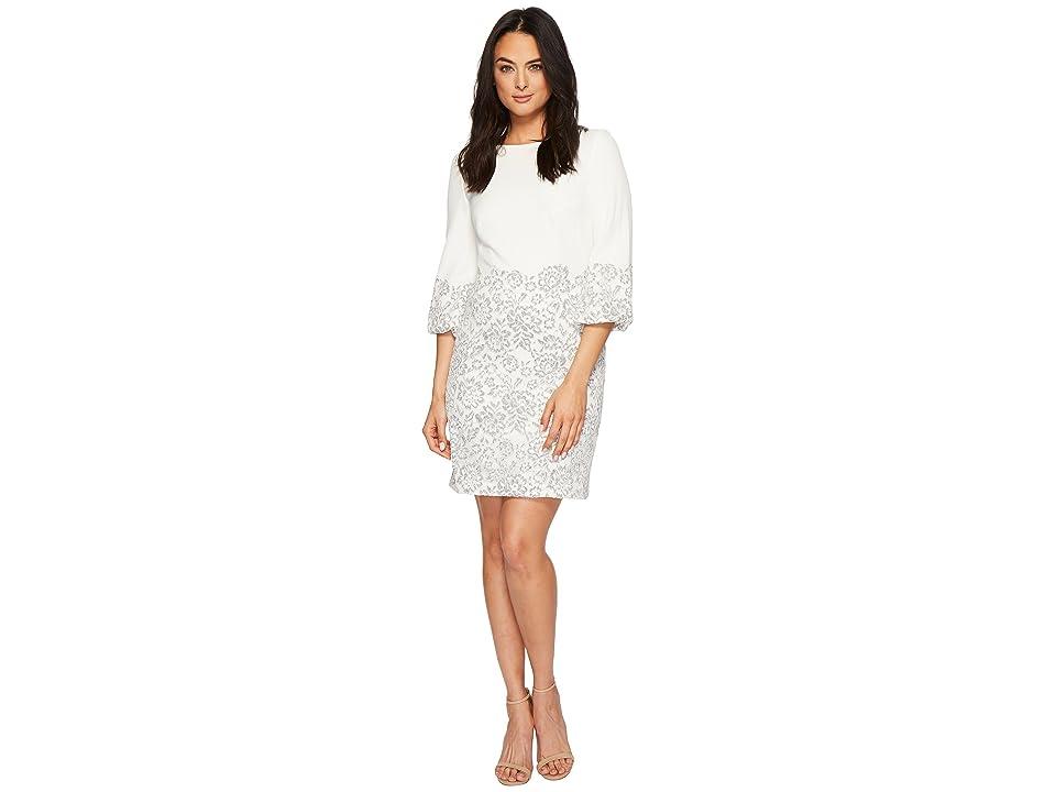 LAUREN Ralph Lauren Dorina French Stretch Crepe w/ Fleurissimo Scallop Lace Dress (Ivory/Grey/White) Women