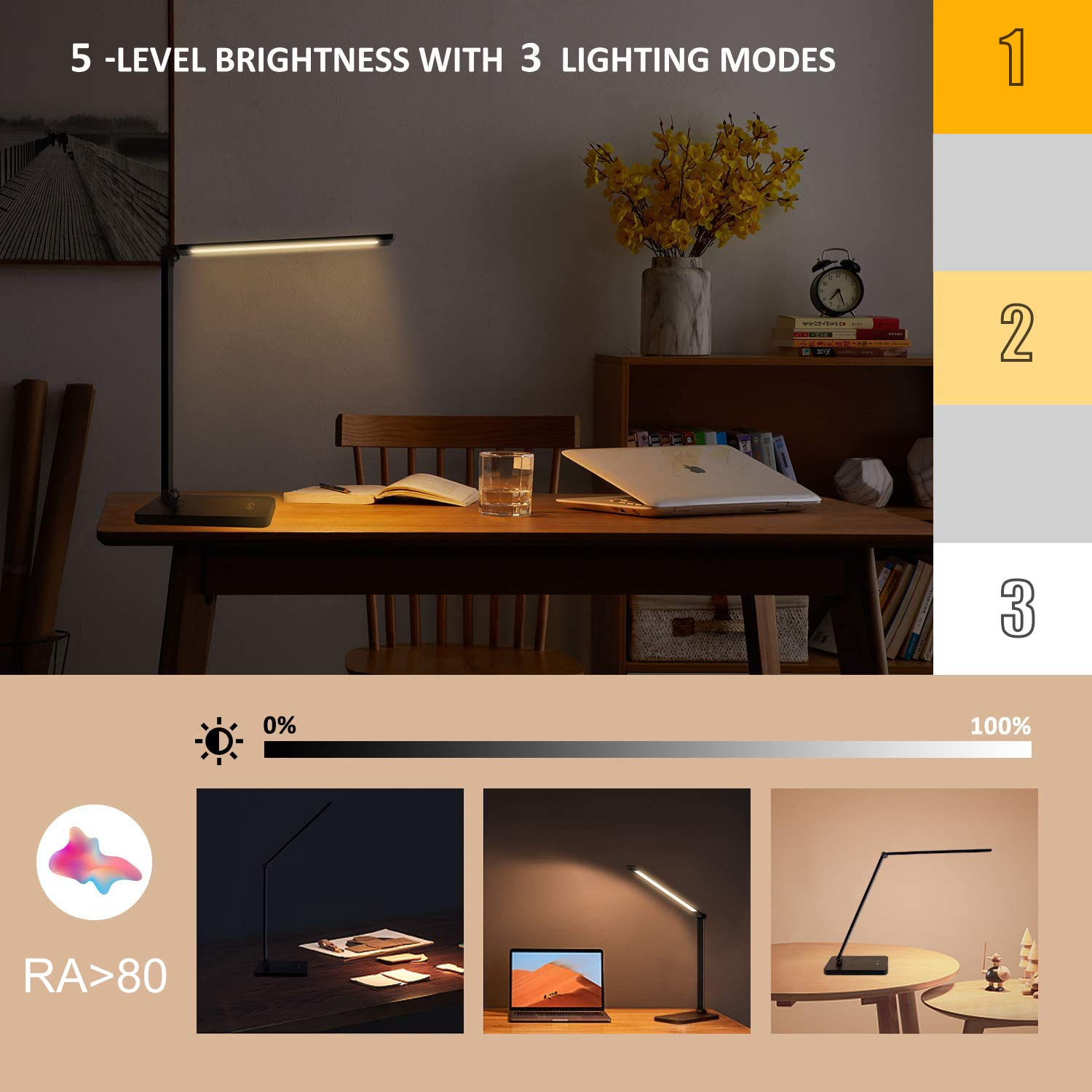 Gluckluz Desk Lamp LED Table Light Foldable Touch Control Reading Lamp with Wireless USB Charging Port 3 Lighting Modes 5 Brightness Levels Built-in Clock Calendar Thermometer for Study Office (Black)