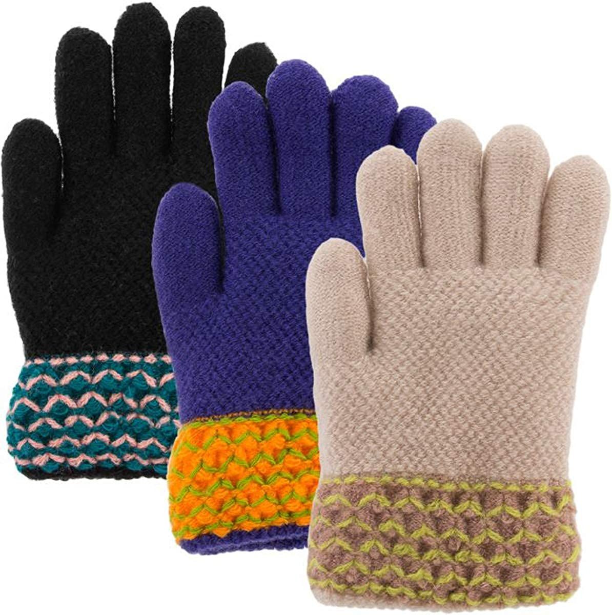Classic Fashion 3 Pairs Ranking TOP2 Winter Girls Ranking TOP2 Acrylic Gloves Kids For