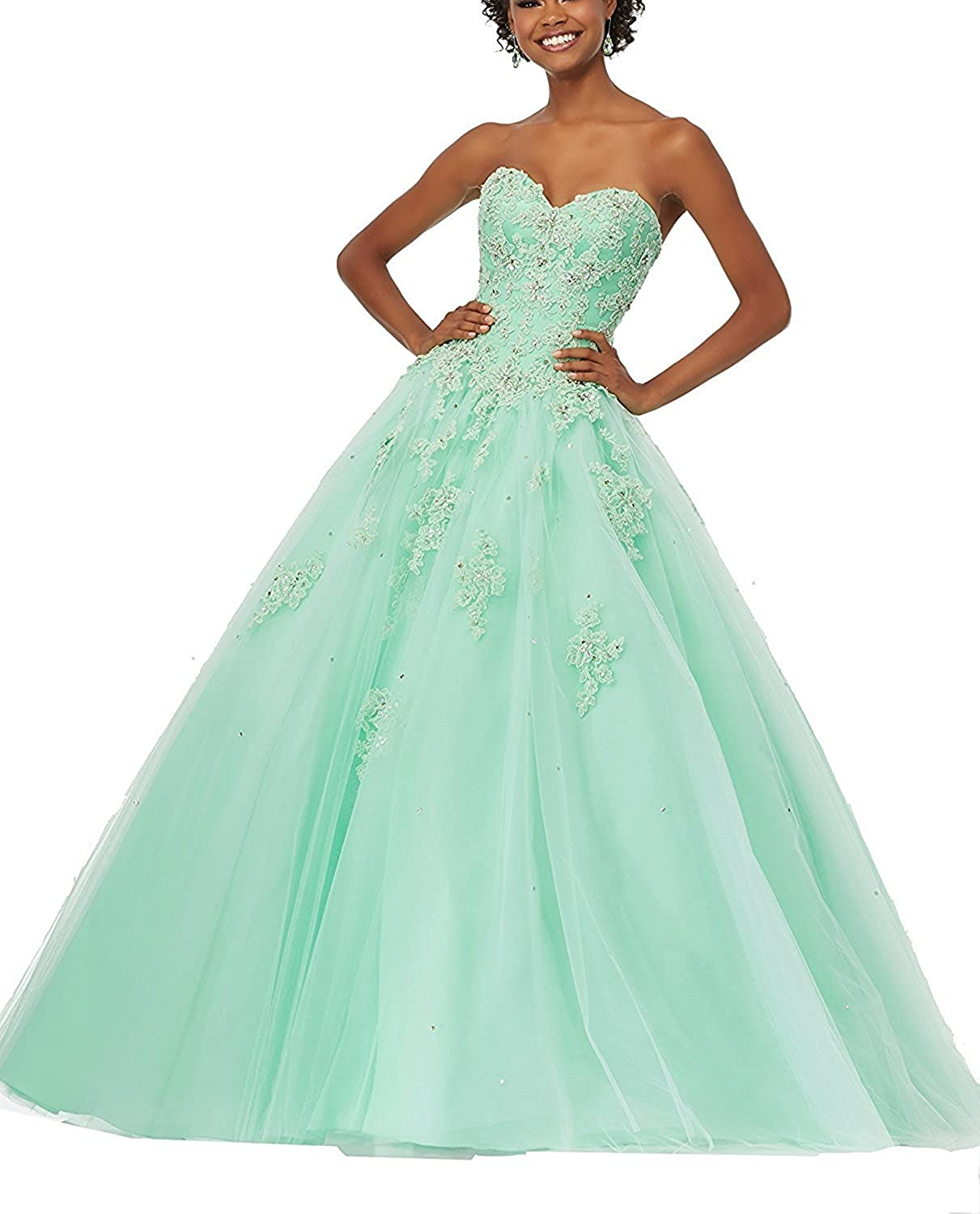 Epinkbridal Sweetheart Lace Applique Floor Length Tulle Ball Gown Quinceanera Dresses