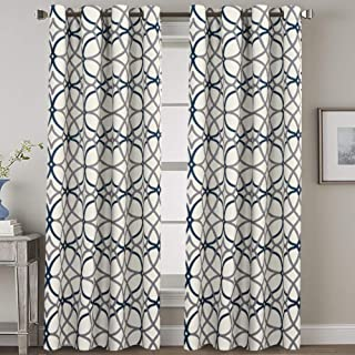 H.VERSAILTEX Blackout Curtains 96 Inches Long Thermal Insulated Print Curtains for Bedroom/Living Room (Set of 2) Room Darkening Draperies Grommet for Kids Room, Geo in Grey and Navy