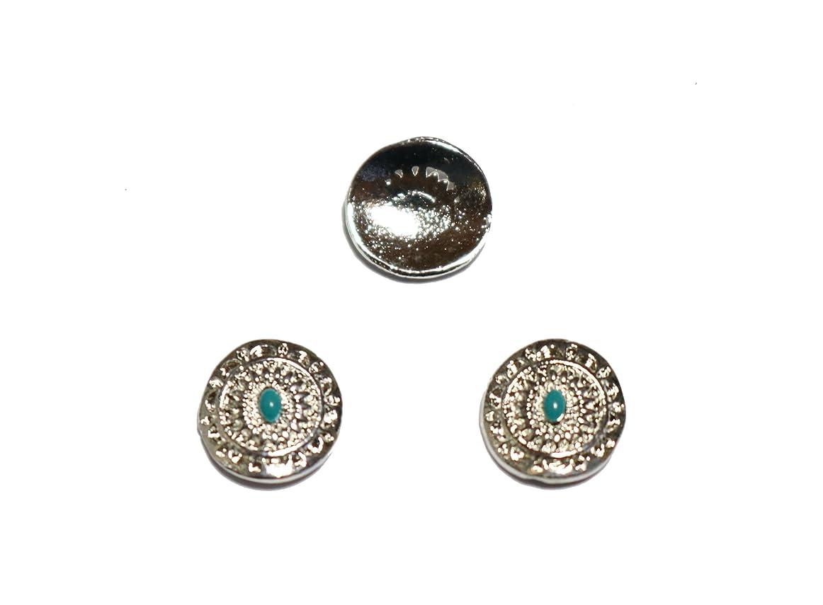 利益割り当てる好色な【jewel】エスニック ネイルパーツ 2個入り 4種類から選択可能 (シルバー)