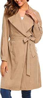 Women's Casual Open Front Cardigan Trench Coat Jacket with Pocket