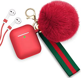 AirPods Case Cute Cover, Transy Airpods Silicone Case Cover with Fur Ball Keychain/Strap for Aipods 2&1 for Gilrs/Womens, Front LED Visible, Red