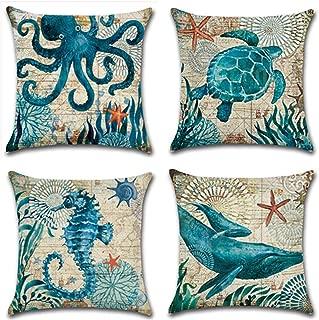 Granbey Turtle Octopus Whale Seahorse Coastal Cushion Cover Nautical Style Throw Pillow Case Sea Theme Decorative Square Linen Set of 4 18 x 18 Inch Decor Pillowcases