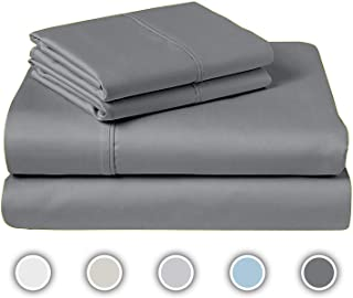 COZERI 600 Thread Count Luxury Sheet Set, 100% Cotton, Breathable, Soft & Silky Sateen Weave, Fits Mattress Upto 17