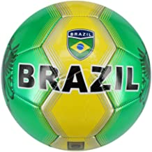 Machine Stitch Soccer Ball with Brazil Country Name size: 5 (green/yellow)