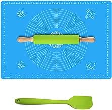 "Ganoteck 不粘硅胶滚针和 X-L 码硅胶糕点垫""63.5 X 43.18 厘米免费硅胶抹刀,滚针,不粘硅胶面团,带测量面部垫"