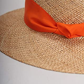 Hats New Hand-Knitted Flat-top Hat Female Vacation Loose Beach Hat Visor Fashion (Color : Orange)