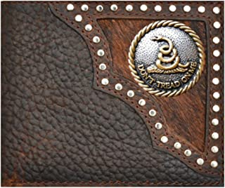 Custom Don't Tread On Me Bi-fold Wallet Hair on Hide Black