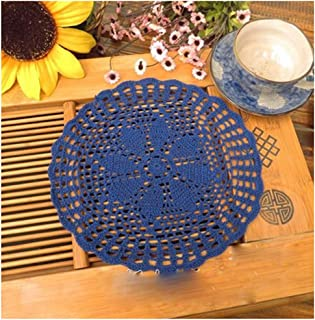 WCHUANG Handmade Round Crochet Cotton Lace Table Doilies Placemats, 4PCS (Navy)