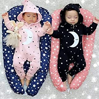 DOLYKUI 0-18 Months Baby Jumpsuit, Newborn Infant Baby Girls Boys Hooded Romper Jumpsuit Outfits Playsuit Pajamas, Kids Autumn Winter Christmas Moon Star Print Long Sleeve Clothes