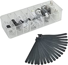 Electronics Organizer 8 Sections Clear Acrylic Cable Storage Bin Box Cord Holder with 20 PCS Reusable Fastening Velcro Cab...