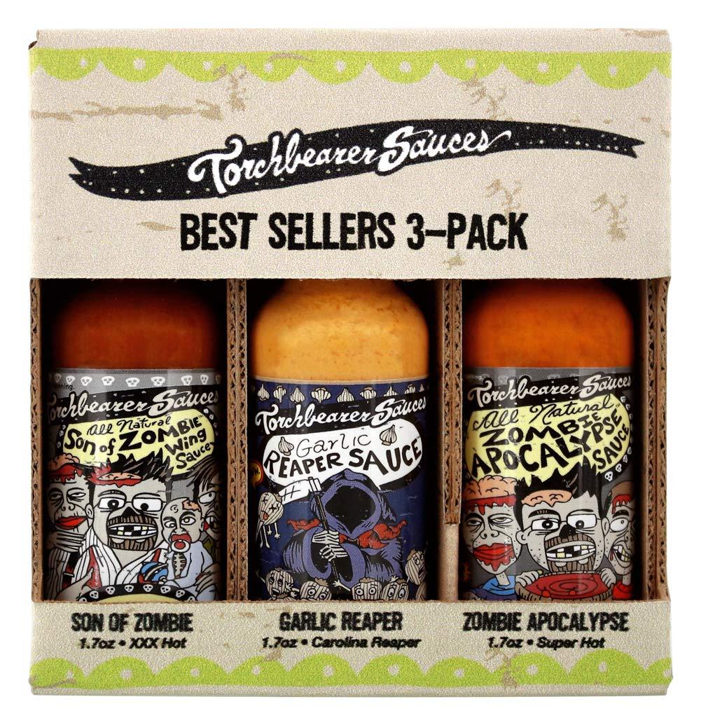 Torchbearer Sauces Hot Sauce Best Sellers Set O 1.7 New color Bundle Mini Large discharge sale