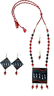FINEST stylish Navratri Special Handpainted Wooden Necklace Jewellery Set With Earrings Set For Women ornaments jewellery