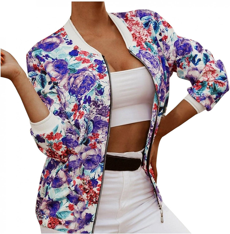 Womens Jackets Lightweight Zip Up Casual Floral Print Jacket Long Sleeve Coat Stand Collar Short Outwear Tops
