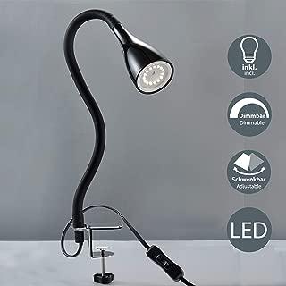 B.K.Licht - Flexo LED con pinza, para escritorio, luz de lectura con iluminación regulable de 3 niveles, 5 W, 230 V y 400 lúmenes, índice de protección IP20, color negro
