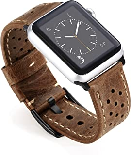 Aiiko Compatible with Apple Watch Band,42mm Genuine Leather Hollow Design Replacement for Apple Watch Series 4 Series 3 Series 2 Series 1 Sport and Edition,Brown