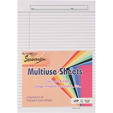 SNOW CRAFTS A4 Size Both Side Ruled Sheet for Project/Assignment/Practical/Homework (Pack of 100 sheets)