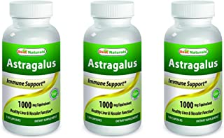 Best Naturals Astragalus Capsule, 1000 mg, 120 Count ( Pack of 3 )