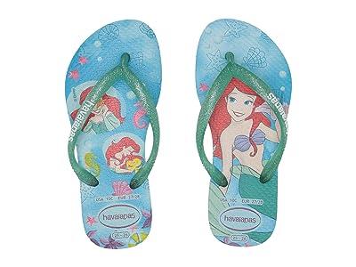 Havaianas Kids Slim Princess Flip Flops (Toddler/Little Kid/Big Kid) (White/Green Clover) Girls Shoes