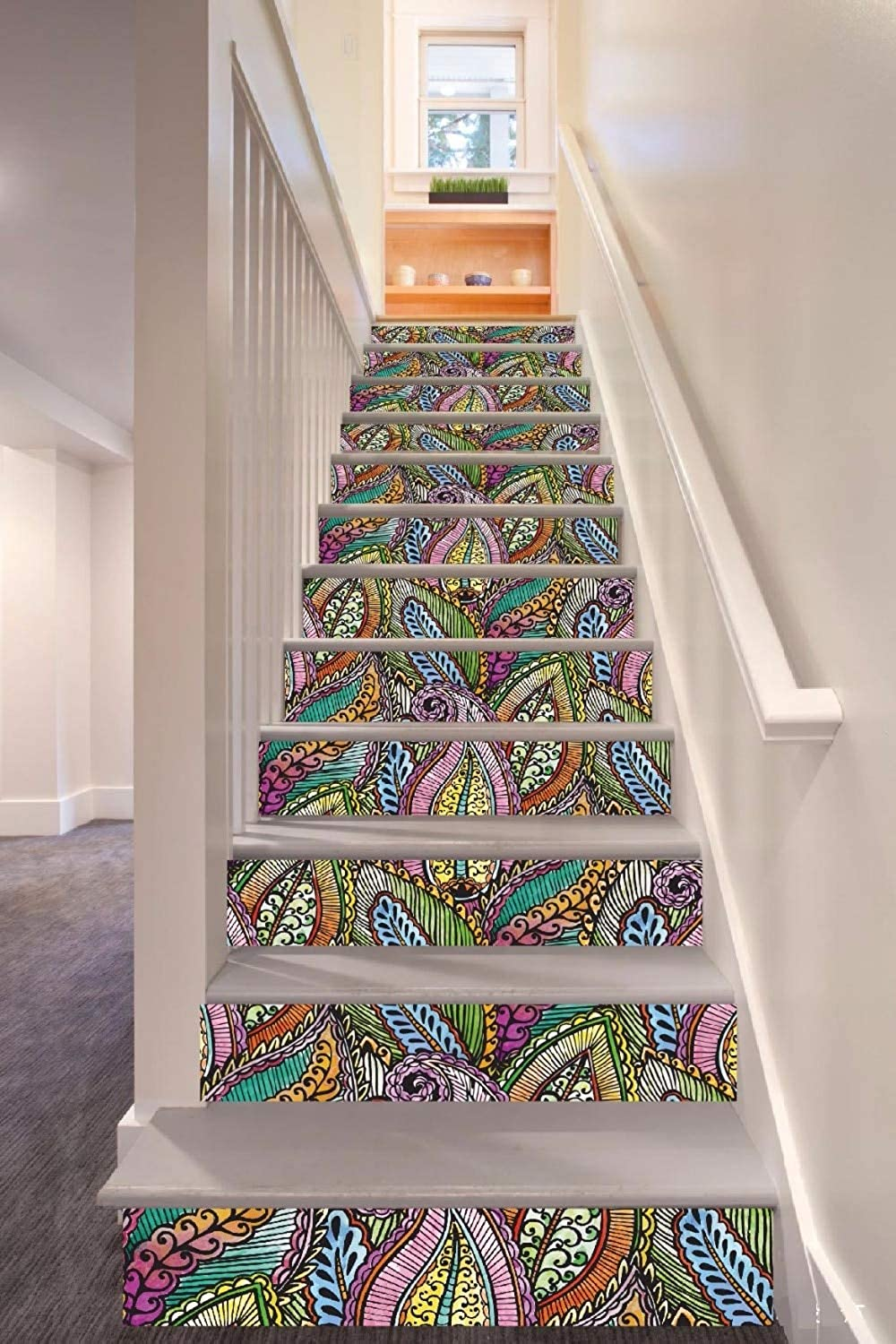 respuestas rápidas 3D DIY autoadhesivo autoadhesivo autoadhesivo 6pcs set 18cm X 100cm Colorful Abstract Fantasy Leaves Style Stair Sticker Wall Decor  marca de lujo