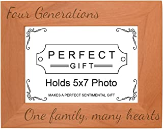 Gifts For All By Rachel Olevia Four Generations One Family Many Hearts Natural Wood Engraved 5x7 Landscape Picture Frame Wood