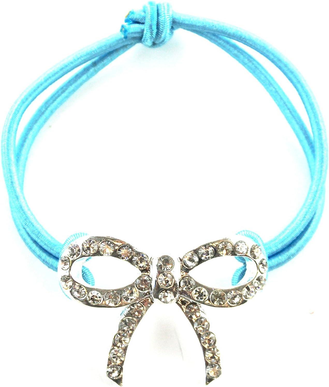 Rhinestone Bow Tie Bracelet Light bluee