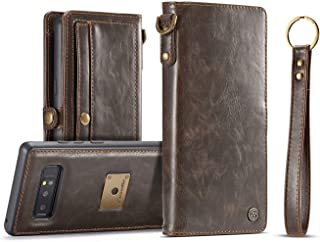AKHVRS Note8 Case Wallet, Handmade Flip Folding Leather Phone Case Wallet with Card Slot and Magnetic Case Detachable for Samsung Galaxy Note 8 - Brown