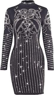 Women Long Sleeve Dress Geometric Retro Sparkly Bodycon Party Mini Dress with Zipper