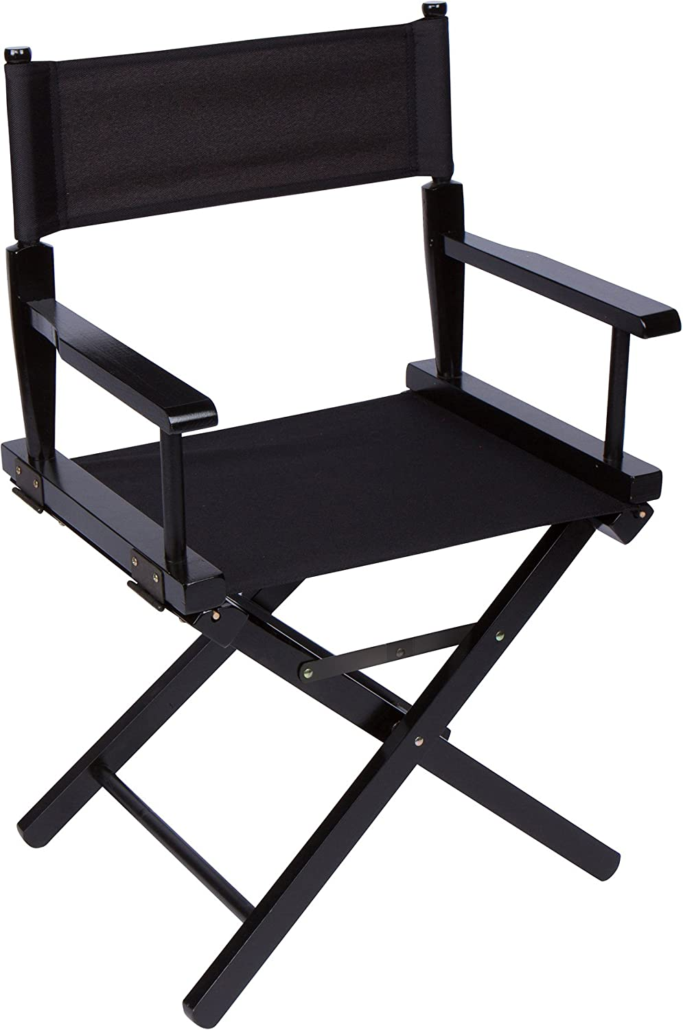 Trademark Innovations DIREC18BW-BL 18  Dining Height Director's Chair, Black Wood, Black