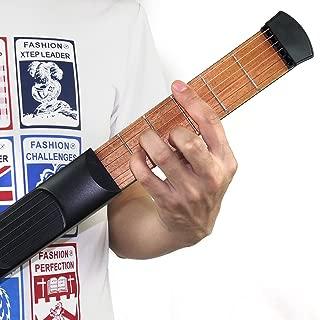 Yafine 便携式木袋吉他练习工具 Gadget 吉他弦训练器 4 Fret 黑色 6 Fret R2