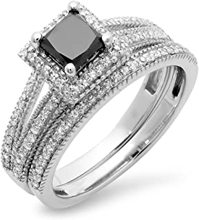 Dazzlingrock Collection 1.35 Carat (ctw) 14K Gold Princess Cut Black & Round White Diamond Split Shank Halo Engagement Ring Set