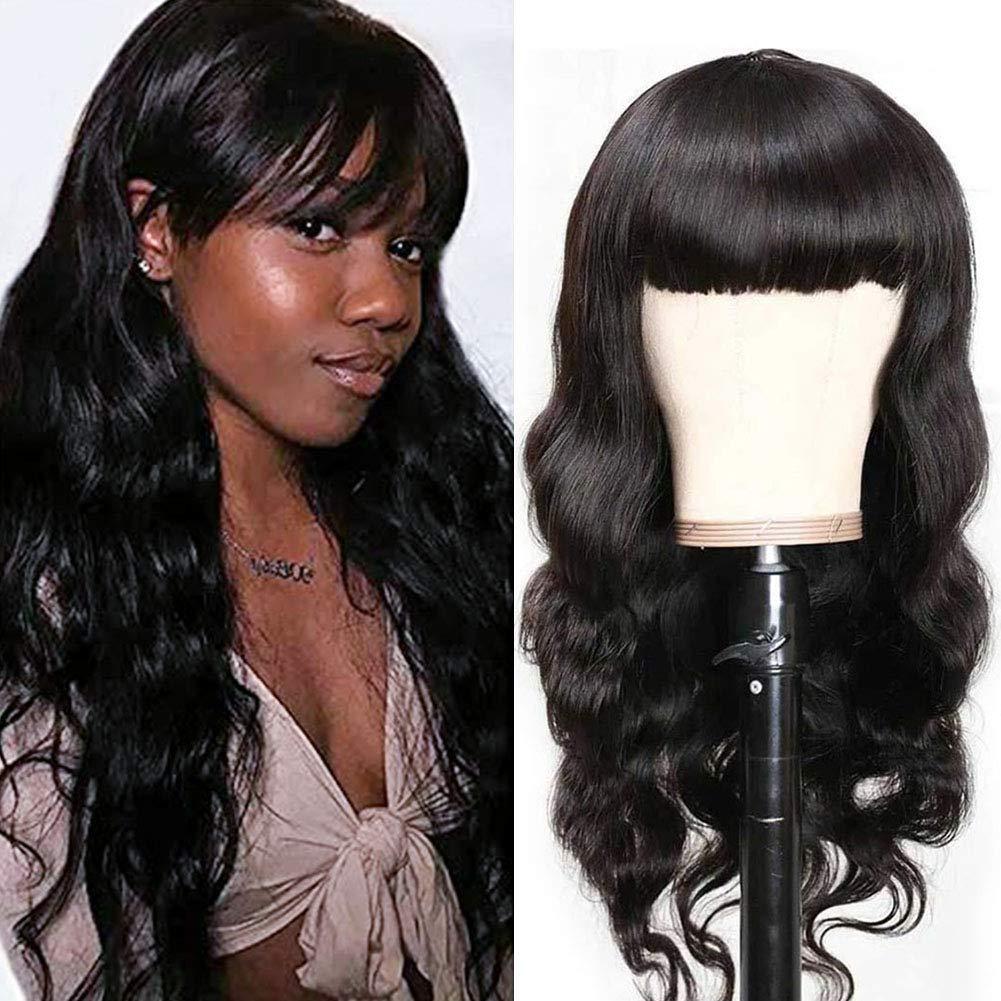 Brazilian Body Wave Human Hair Wigs 1 Long Beach Mall Bangs Very popular Black with for Women