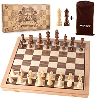AMEROUS Magnetic Chess Set, 15 Inches Handmade Wooden Folding Travel Chess Board Game Sets with Chessmen Storage Slots for...
