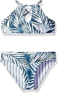 db6c03d978 Splendid Big Girls' Crisscross High Neck Bikini Top and Retro Bottom  Swimsuit Set