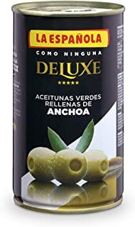 DELUXE de LA ESPAÑOLA  (150g). Aceitunas verdes rellenas de anchoa seleccionadas. Pack de 12 uds.